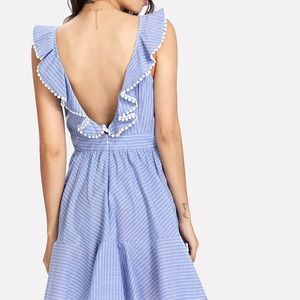 Pompon blue and white striped dress